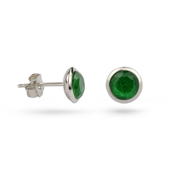 Green Emerald May Birthstone Sterling Silver Stud Earrings Gold Plated