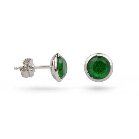 Emerald Green May Birthstone Silver Stud Earrings
