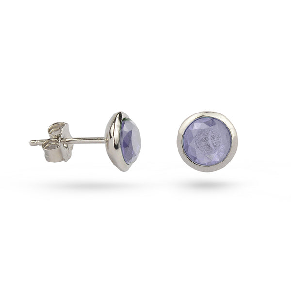 Light Pale Amethyst June Birthstone Sterling Silver Stud Earrings Gold Plated
