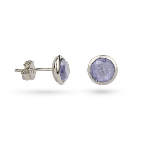 Light Amethyst June Birthstone Silver Stud Earrings