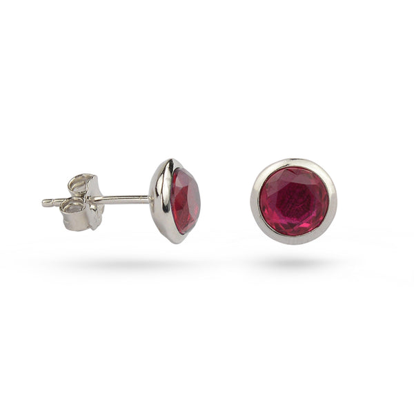 Ruby Red July Birthstone Sterling Silver Stud Earrings Gold Plated