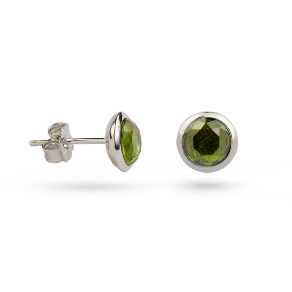 Green Peridot August Birthstone Sterling Silver Stud Earrings Gold Plated
