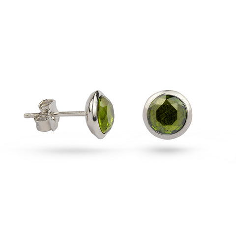 Peridot Green August Birthstone Silver Stud Earrings