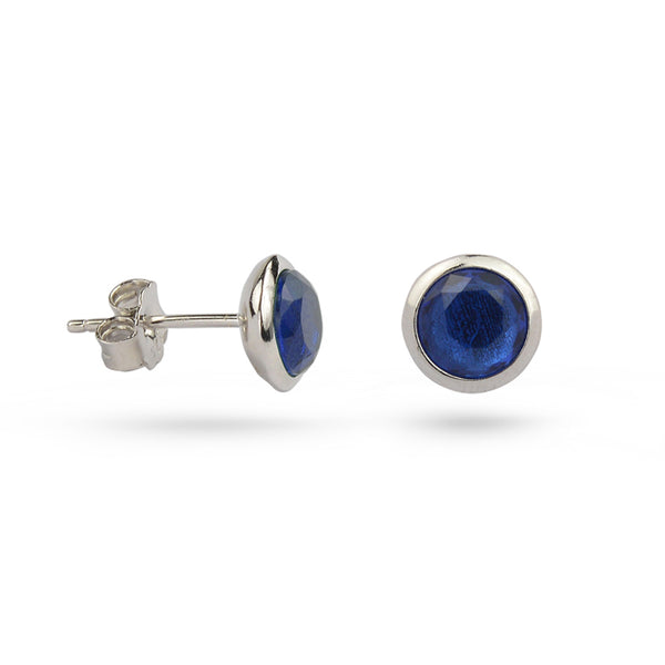 Sapphire Blue September Birthstone Sterling Silver Stud Earrings Gold Plated