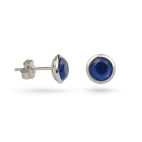 Sapphire Blue September Birthstone Silver Stud Earrings