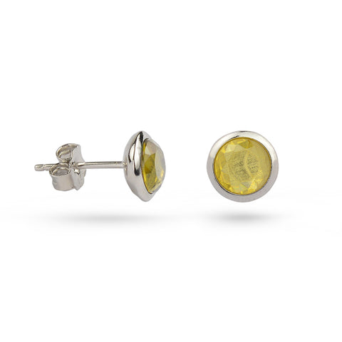 Yellow Citrine November Birthstone Silver Stud Earrings