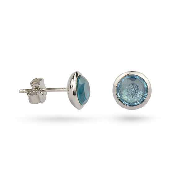 Blue Topaz December Birthstone Sterling Silver Stud Earrings Gold Plated