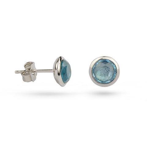 Blue Topaz December Birthstone Silver Stud Earrings