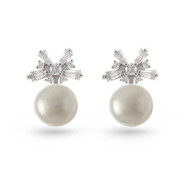 Pearl And Bow Cubic Zirconia Stud Earrings
