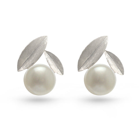White Pearl Leaf Stud Earrings