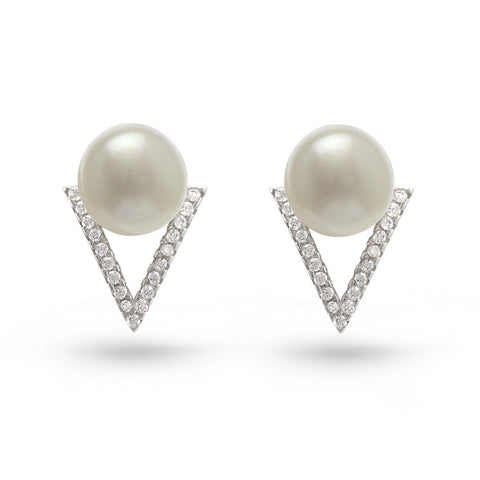 Freshwater Pearl & Cubic Zirconia Triangle Stud Earrings