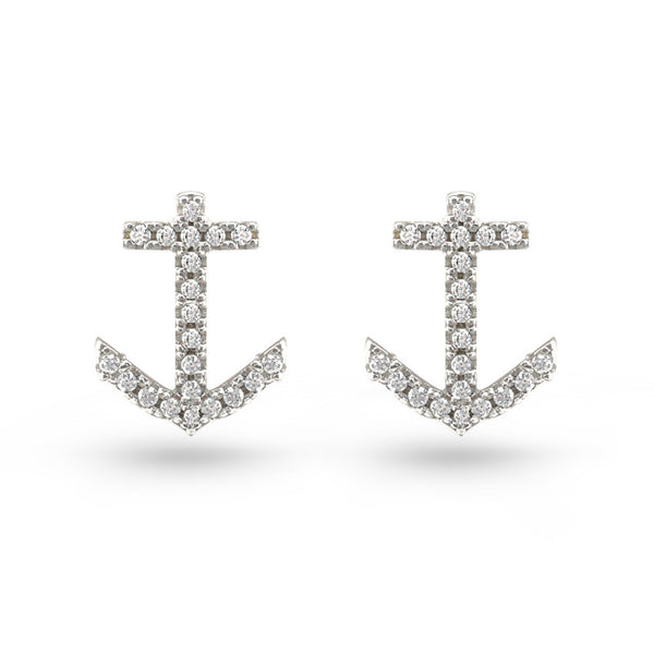 Anchor CZ Sterling Silver Stud Earrings