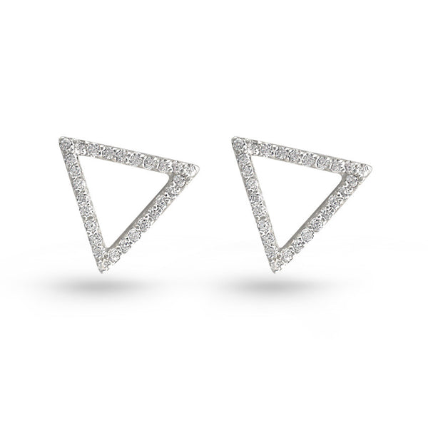 Cubic Zirconia Triangle Stud Earrings