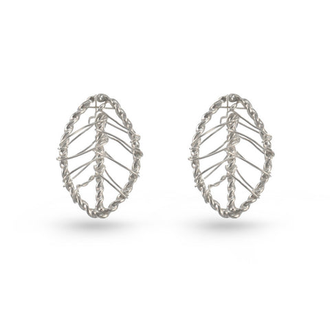 Silver Web Leaf Stud Earrings