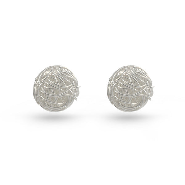 Silver Wool Ball Stud Earrings
