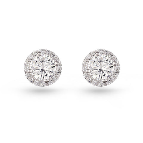 Cubic Zirconia Round Pave Stud Earrings