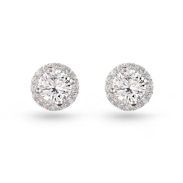 Round Pave Stud Earrings