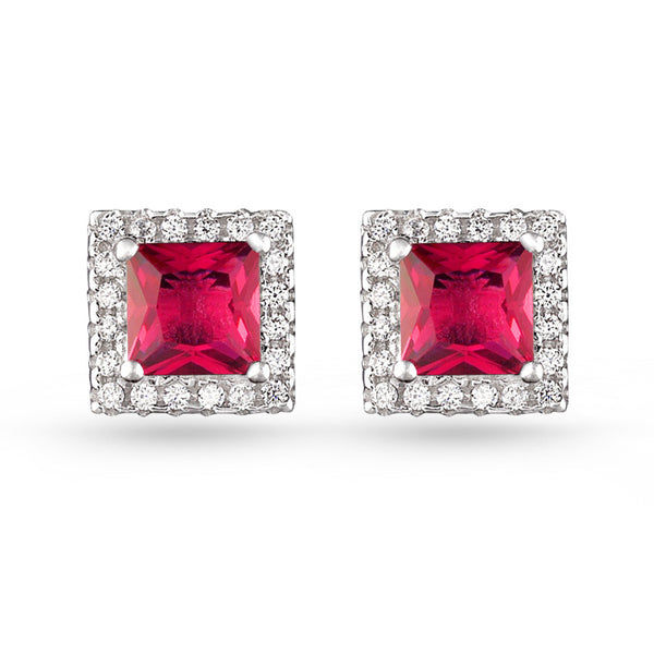 Square Pave Stud Earrings Red