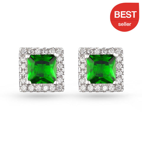 Square Pave Stud Earrings Green