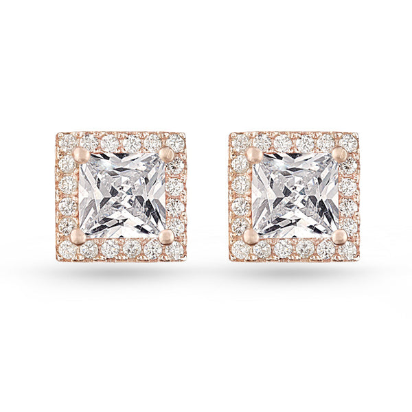 Square Pave Stud Earrings Rose