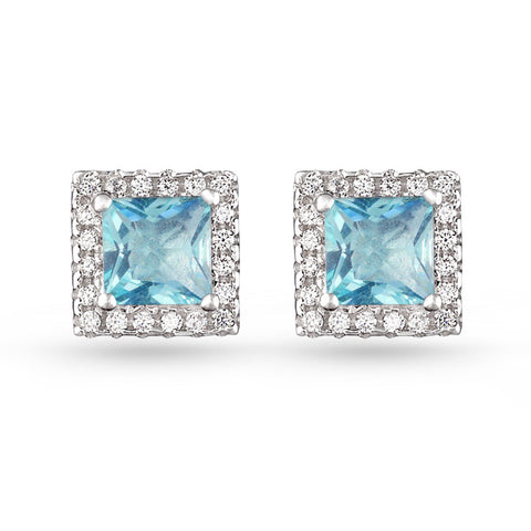 Square Pave Stud Earrings Aquamarine
