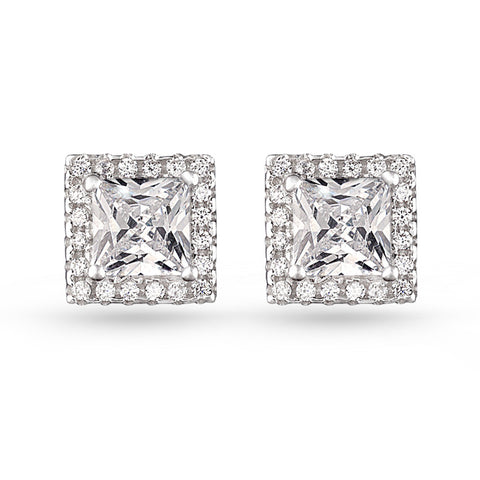 Square Pave Stud Earrings