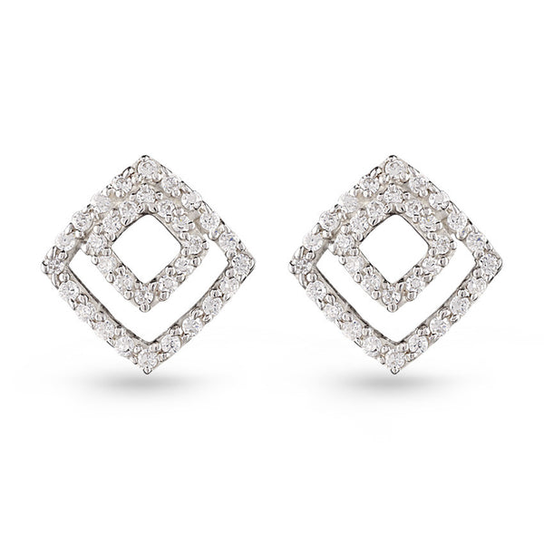 Cubic Zirconia Two Squares Stud Earrings