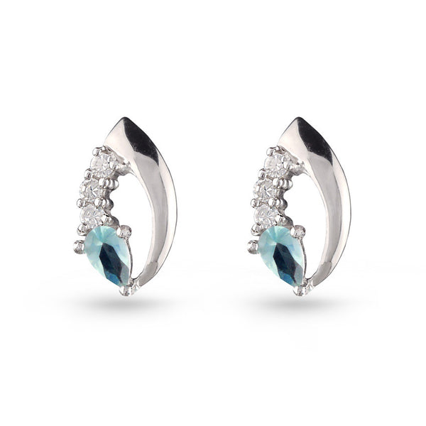 Blue Cubic Zirconia Sterling Silver Stud Earrings