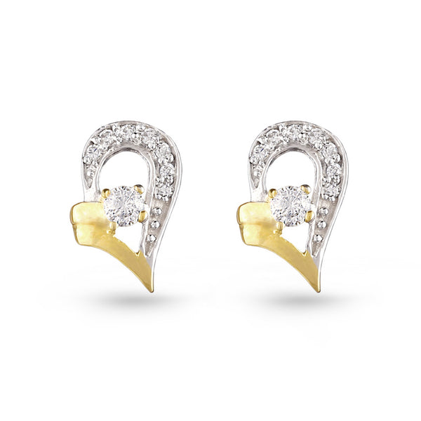 Gold Silver Cubic Zirconia Heart Stud Earrings