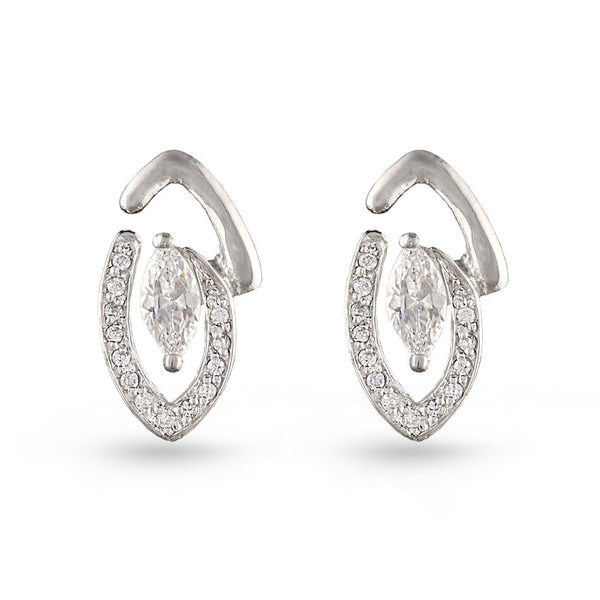 Cubic Zirconia Eye Stud Earrings