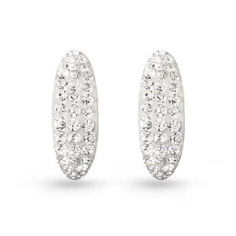 Crystal Half Circle Stud Earrings