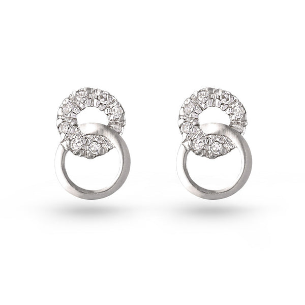 Cubic Zirconia Two Circles Stud Earrings