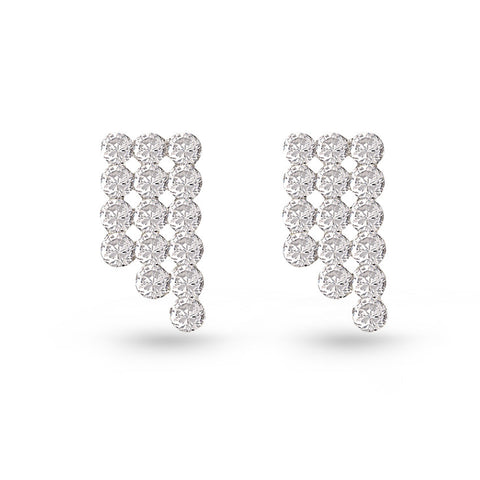 Cubic Zirconia Curtain Stud Earrings