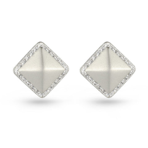 Cubic Zirconia Embossed Square Stud Earrings