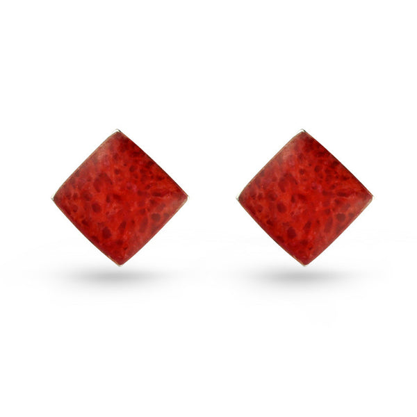 Square Coral Stud Earrings
