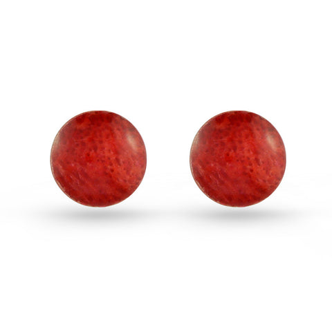 Round Coral Stud Earrings