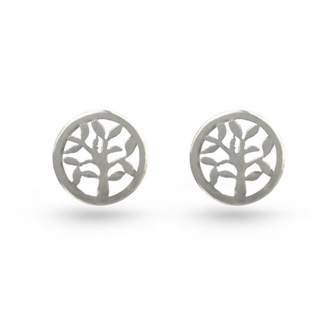 Tree Of Life Circle Stud Earrings