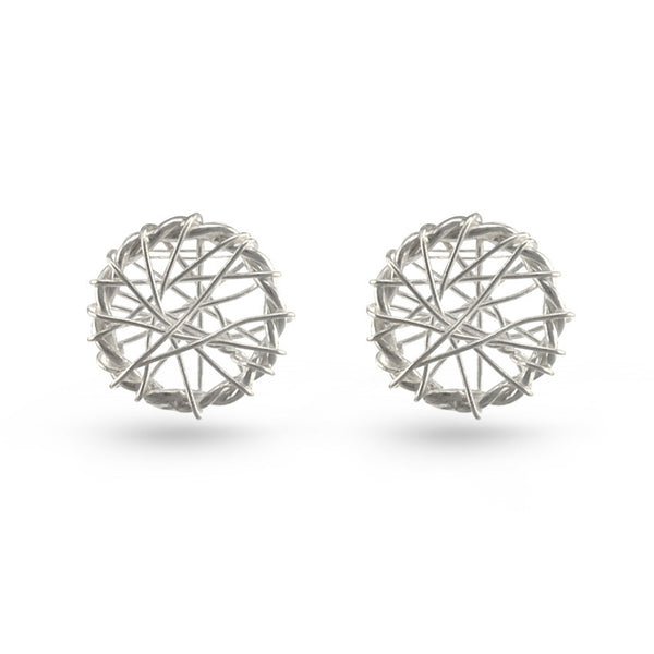 Silver Web Circle Stud Earrings