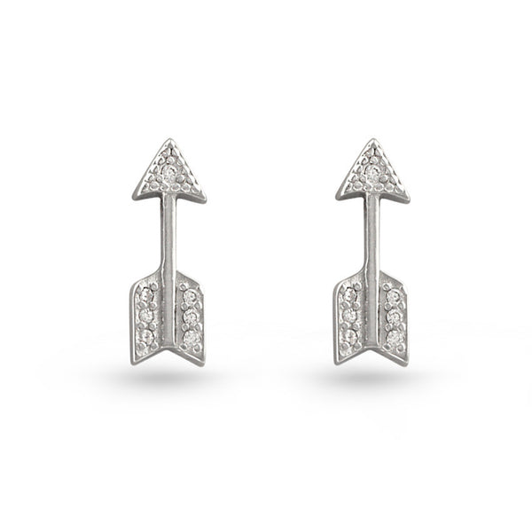 Arrow CZ Sterling Silver Stud Earrings
