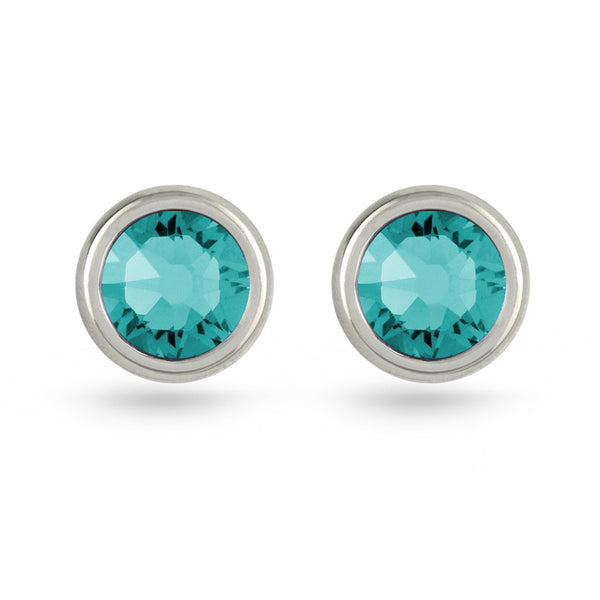 Blue Zircon Swarovski Crystal Stud Earrings