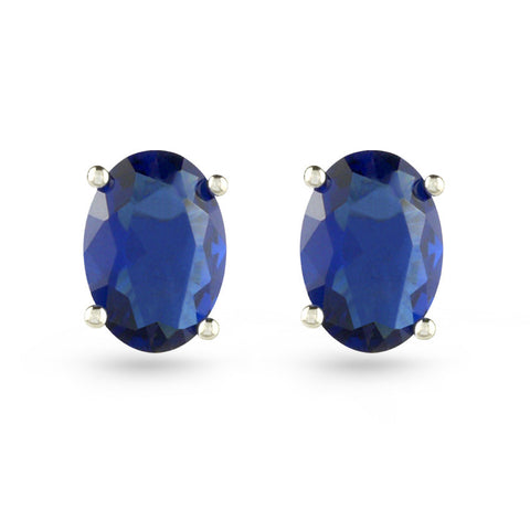 Blue Oval Stud Earrings