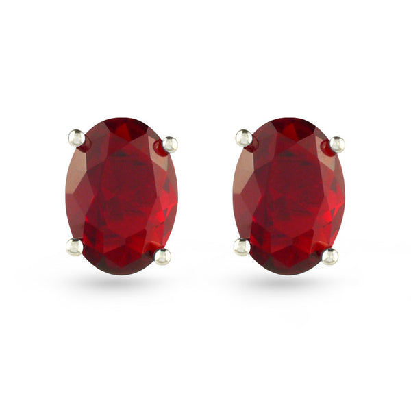 Red Oval Stud Earrings