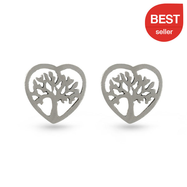 Tree Of Life Heart Stud Earrings