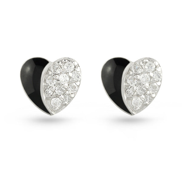 Black Moon Heart CZ Silver Stud Earrings