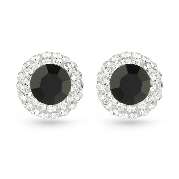 Jet Black Crystal Stud Earrings