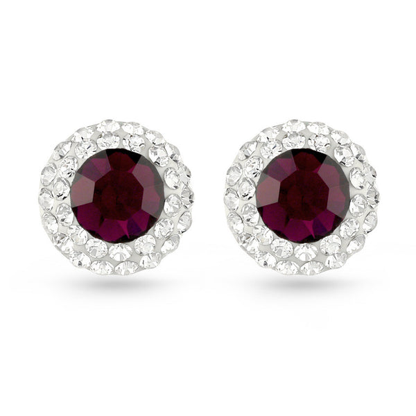 Deep Fuchsia Crystal Stud Earrings