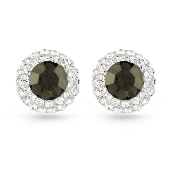 Smoked Topaz Crystal Stud Earrings