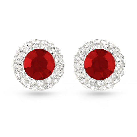 Red Crystal Stud Earrings