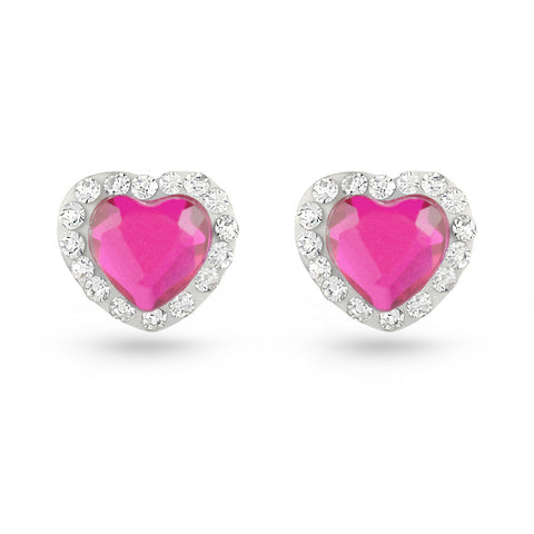 Pink Heart Crystal Stud Earrings