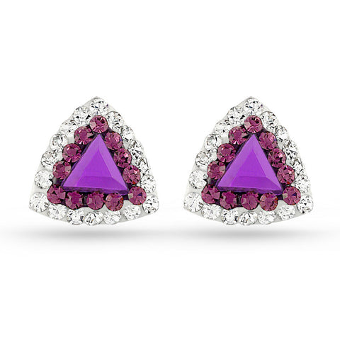 Amethyst Triangle Crystal Stud Earrings